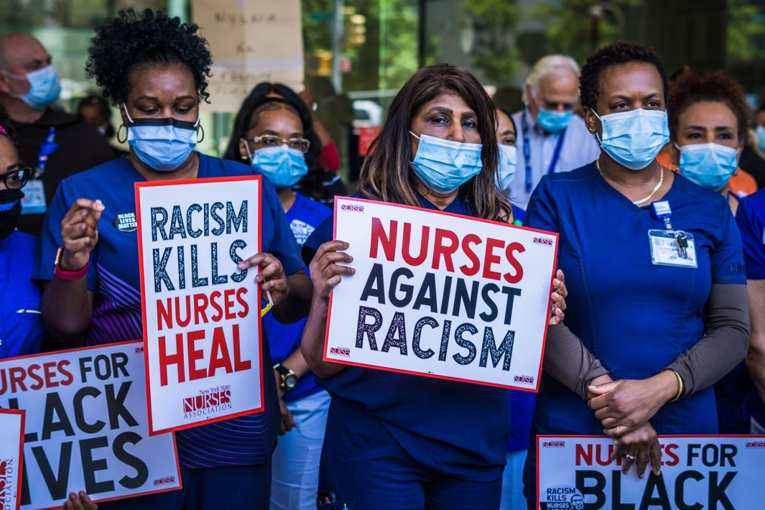 Nurses took a stand for racial justice outside of Bellevue hospital and other New York City hospitals on June 9th, 2020.