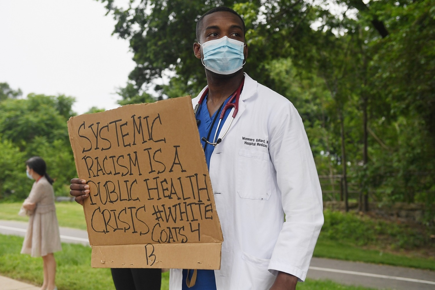 Several hundred doctors, nurses and medical professionals came together to protest against police brutality and the death of George Floyd at Barnes-Jewish Hospital on June 5, 2020 in St Louis, Missouri.