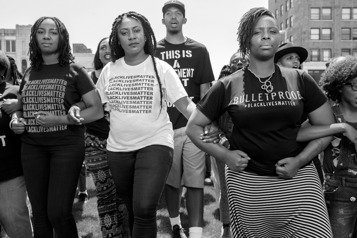 (L-R) Opal Tometi, Alicia Garza, and Patrisse Cullors, founders of the Black Lives Matter activist movement in Cleveland, Ohio, July 2015.