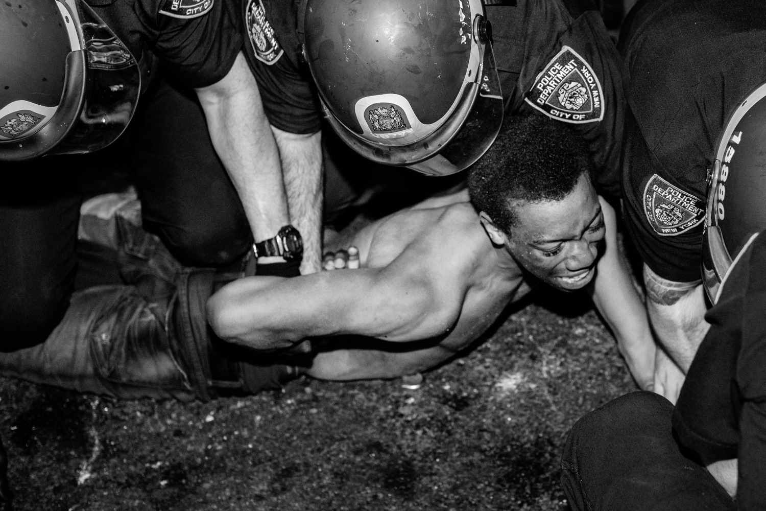 A protestor is being arrest by NYPD officers during clashes between police and demonstrators in Brooklyn, New York, May 30, 2020. (PHOTO: Amr Alfiky)