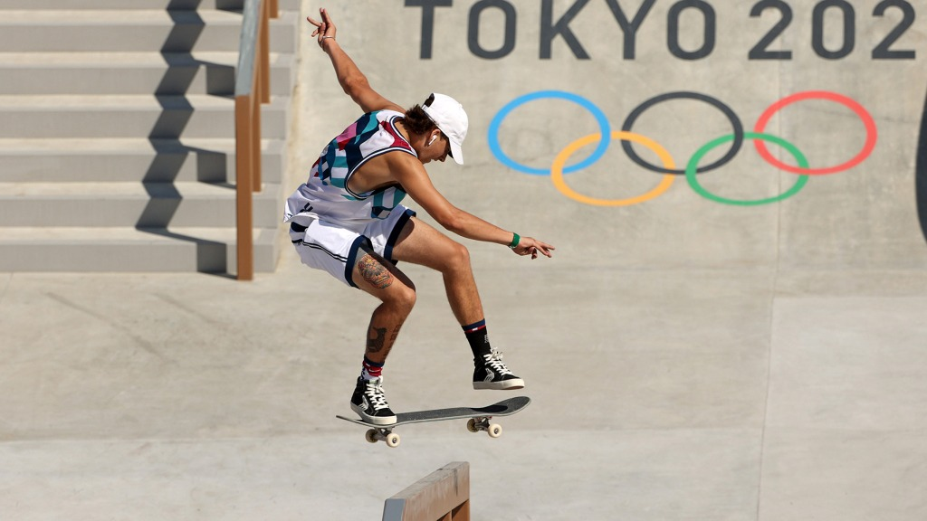 Jagger Eaton of Team USA competes at the Skateboarding Men's Street Prelims on day two of the Tokyo 2020 Olympic Games at Ariake Urban Sports Park on July 25, 2021 in Tokyo, Japan.