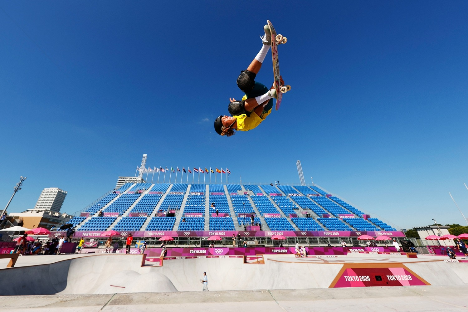 TOKYO, JAPAN - AUGUST 05: Keegan Palmer of Team Australia warms up prior to the Men's Skateboarding Park Preliminary Heat on day thirteen of the Tokyo 2020 Olympic Games at Ariake Urban Sports Park on August 05, 2021 in Tokyo, Japan. (Photo by Ezra Shaw/Getty Images)